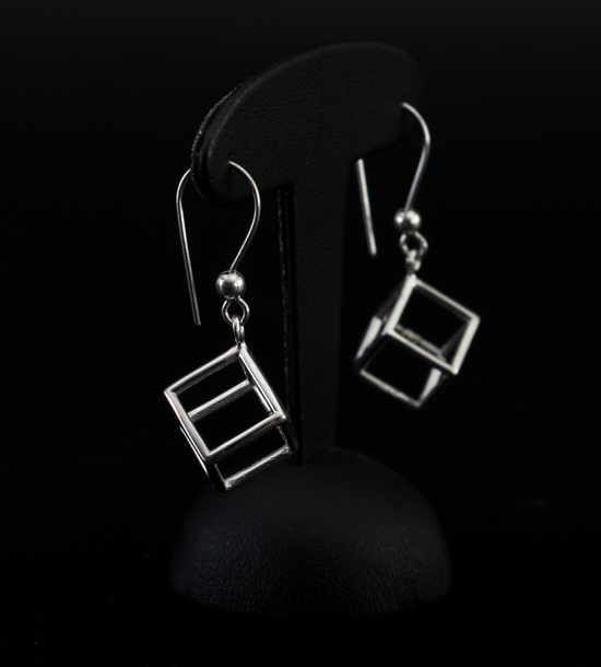 Leonardo Da Vinci Silver earrings : Cube
