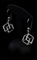 Leonardo Da Vinci Silver earrings : Cube, detail n°1
