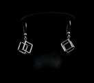 Leonardo Da Vinci Silver earrings : Cube, detail n°2
