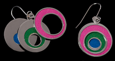 Kandinsky earrings : Concentric circles (detail))