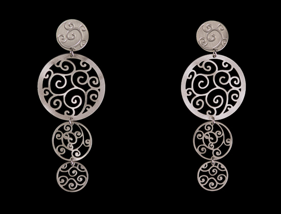 Klimt earrings : Art Nouveau (silver finish)