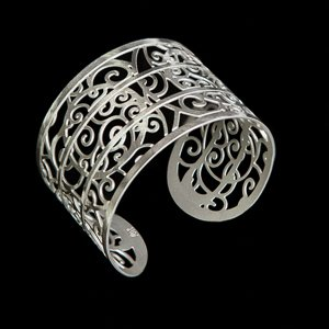 Bracelet cuff Klimt : The tree of life (silver finish)