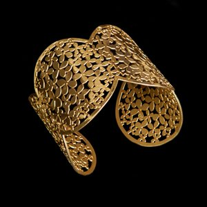 Bracelet cuff Klimt : Flower Garden (gold finish)