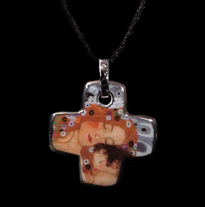 Gustav Klimt pendant : The three ages of the woman (cross)