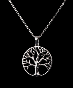 Gustav Klimt Jewel : silver pendant : Tree of life (circle)