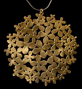 Gustav Klimt pendant : Flower Garden (gold finish)
