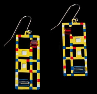 Earrings Piet Mondrian : Broadway Boogie Woogie