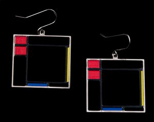 Earrings Piet Mondrian : Composition