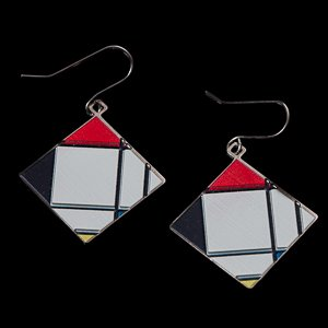 Earrings Piet Mondrian : Lozenge