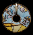 Louis C. Tiffany pendant : Parakeets, (back of the jewel)