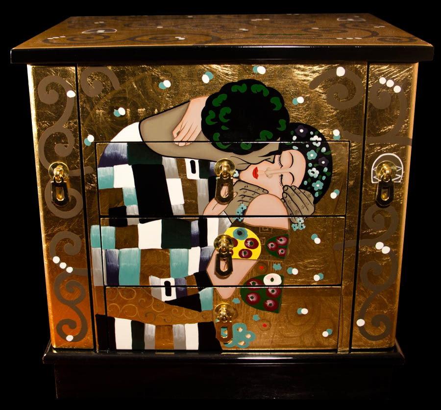 coffre bijoux gustav klimt en bois laqu et dorures le baiser. Black Bedroom Furniture Sets. Home Design Ideas