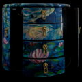 Claude Monet lacquered jewelry box : Nympheas, detail n°3