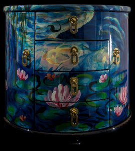 Claude Monet lacquered wood jewelry box : Nympheas