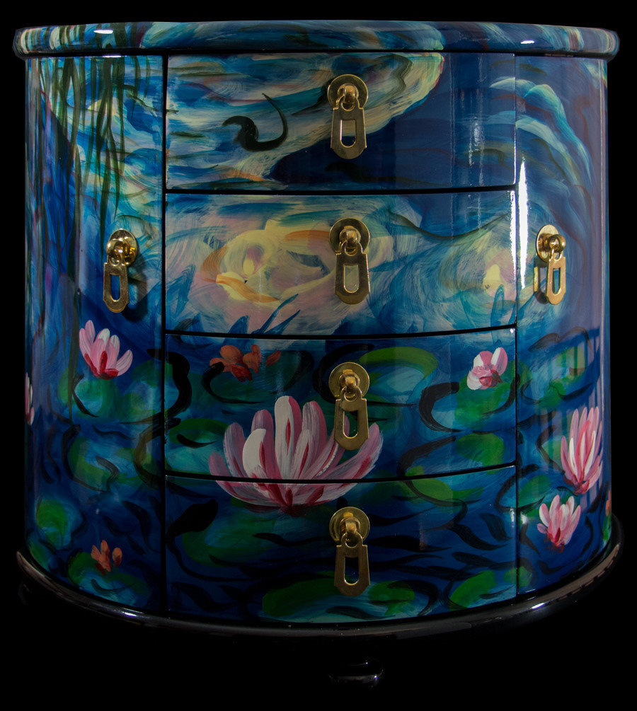 Claude Monet lacquered jewelry box 2 doors 4 drawers Nympheas
