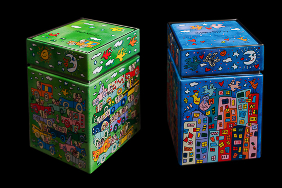 Duo boîtes à thé James Rizzi, City Birds & Crosstown Traffic,