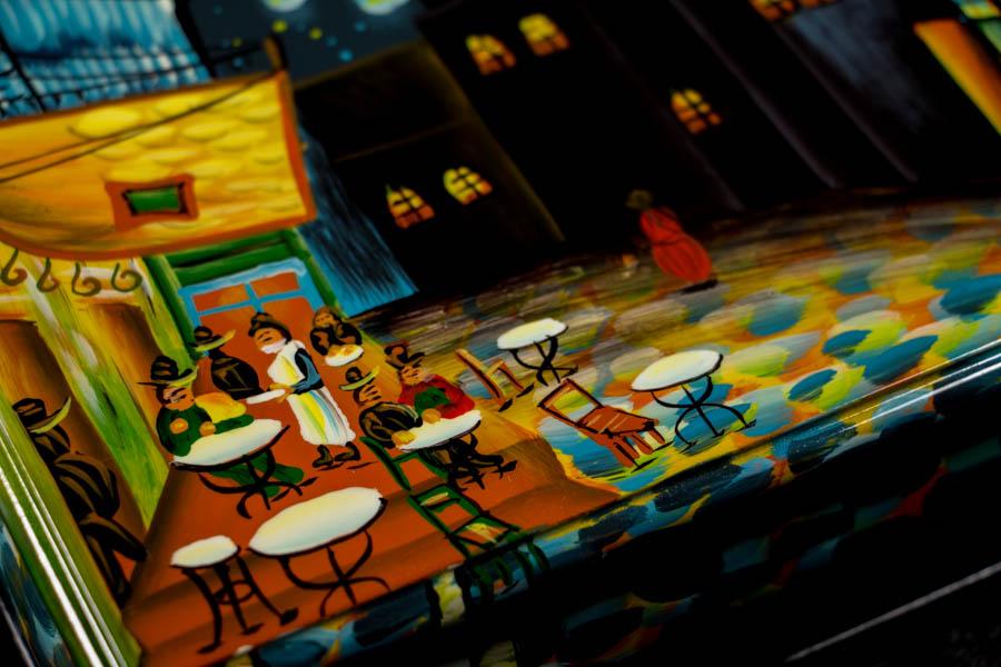 Bote bijoux Van Gogh en bois laqu et dorures  Terrasse de caf de nuit