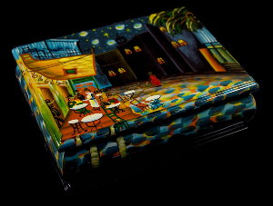 Van Gogh lacquered wood box : Starry night