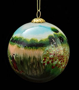 Claude Monet Glass ball christmas ornament, Poppies