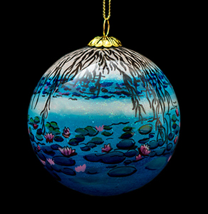 Claude Monet Glass ball christmas ornament, Nympheas (night)