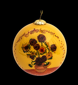 Van Gogh Glass ball christmas ornament, Sunflowers