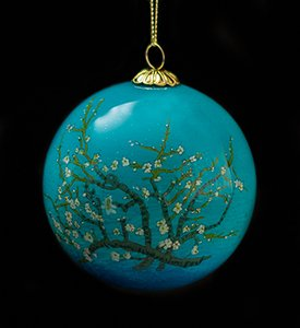 Van Gogh Glass ball christmas ornament, Almond Branches in Bloom