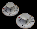 Kandinsky expresso cups and saucers, Free curve to the point