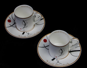 Kandinsky set of 2 coffee cups : Free curve to the point
