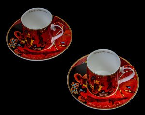 Kandinsky set of 2 coffee cups : Pour et contre