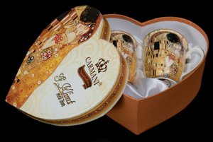 Carmani, Gustav Klimt Set of 2 porcelain mugs in heart box