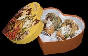 Carmani Alphonse Mucha Set of 2 mugs (Heart box) : Topaz, Emerald