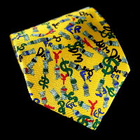 Arman Silk Tie, Currency (yellow)