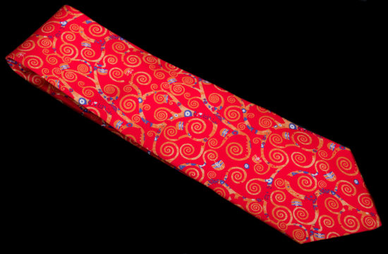 Gustav Klimt Silk tie : The tree of life (Red)