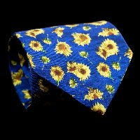 Vincent Van Gogh Silk Tie, Sunflowers (blue)