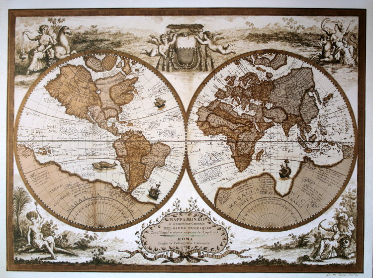 carte mappemonde italienne de 1788 reproduction affiche d 39 art de luxe poster. Black Bedroom Furniture Sets. Home Design Ideas