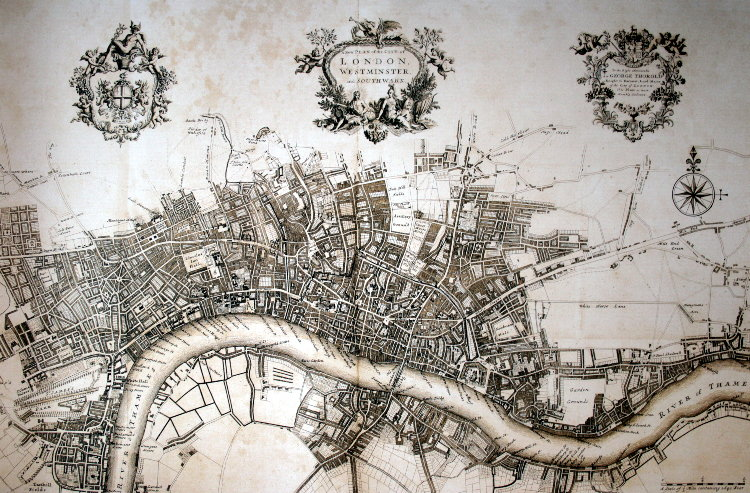 carte mappemonde ville de londres 1720 beau papier ebay. Black Bedroom Furniture Sets. Home Design Ideas