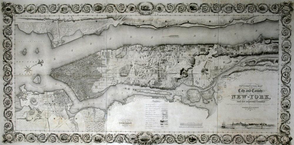 carte mappemonde ville de new york 1836 beau papier. Black Bedroom Furniture Sets. Home Design Ideas