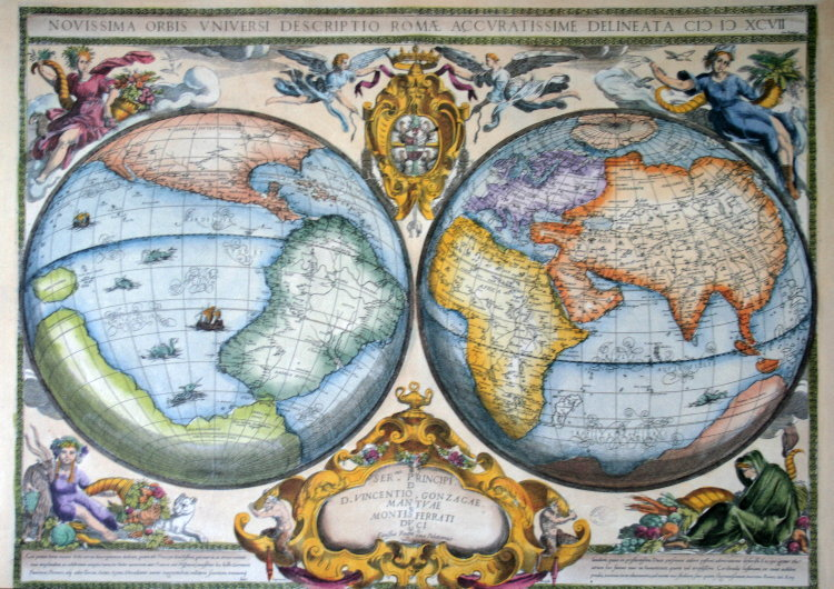 carte mappemonde novissima orbis universi 1597 reproduction affiche d 39 art de luxe poster. Black Bedroom Furniture Sets. Home Design Ideas