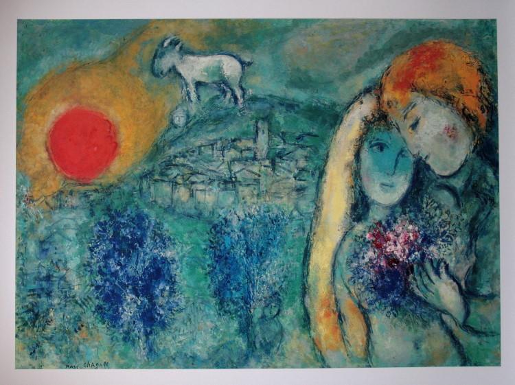 Marc chagall les amoureux de vence 1957 reproduction for Biographie de marc chagall