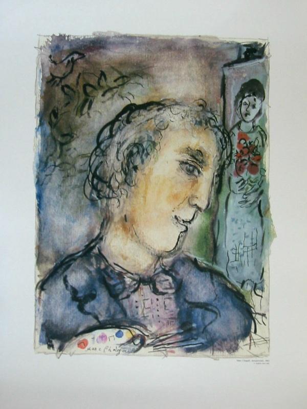 Marc chagall autoportrait sur v lin de rives 250g ebay for Biographie de marc chagall