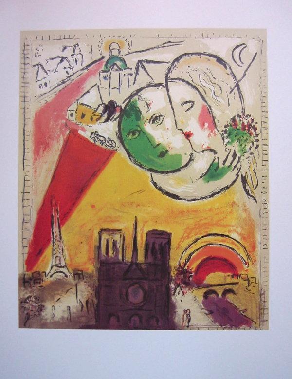 Marc chagall le dimanche 1954 quadrichromie sur un for Biographie de marc chagall