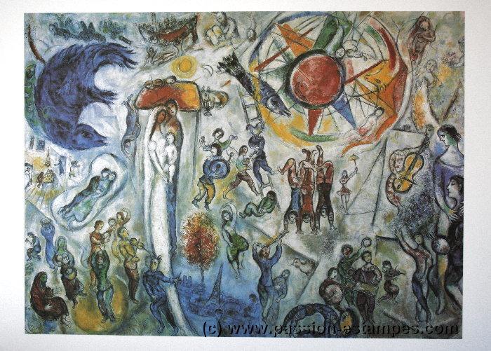 Marc chagall la vie 1964 quadrichromie sur un luxueux for Biographie de marc chagall