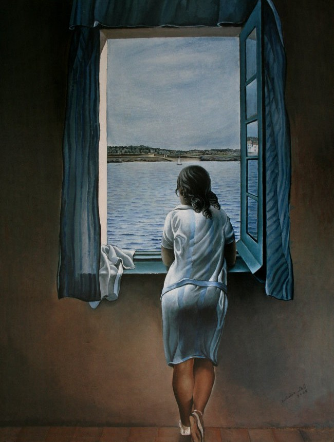 Salvador dali woman at the window 1925 reproduction for Fenetre 80x60