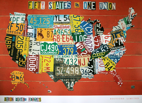 Aaron FOSTER : Fifty States, One Nation : Reproduction, Fine Art print, poster