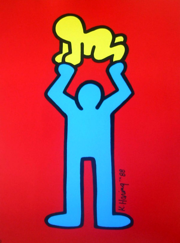 Keith Haring Untitled 1988 Yellow Baby On Red Bottom
