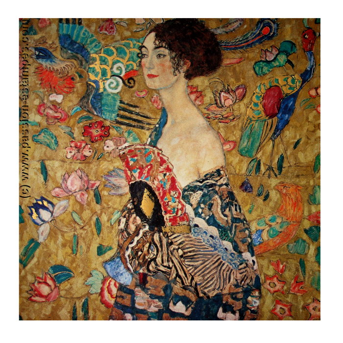 Gustav Klimt Lady With Fan 1918 Reproduction Fine