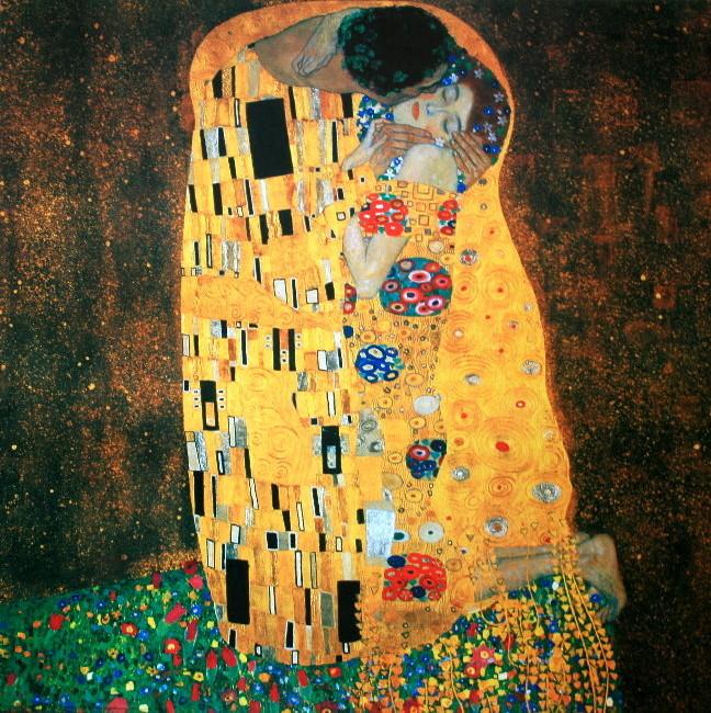 gustav klimt le baiser 1905 luxueuse reproduction en affiche d 39 art 70 x 70 cm. Black Bedroom Furniture Sets. Home Design Ideas