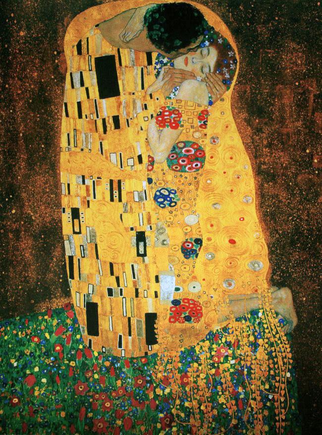 gustav klimt le baiser 1905 luxueuse reproduction en affiche d 39 art 80 x 60 cm. Black Bedroom Furniture Sets. Home Design Ideas