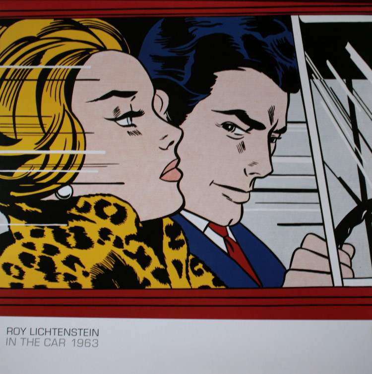 roy lichtenstein in the car 1963 reproduction fine art print poster. Black Bedroom Furniture Sets. Home Design Ideas