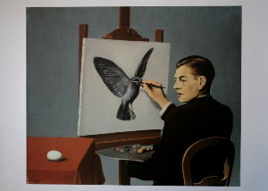 Magritte poster, Clairvoyance (Self Portrait), 1936