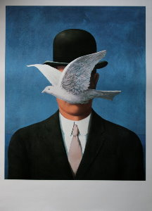 Magritte poster, The Man in the Bowler Hat, 1964